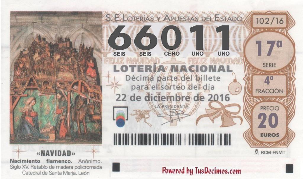 Ya está disponible la Lotería de Navidad con el número 66011