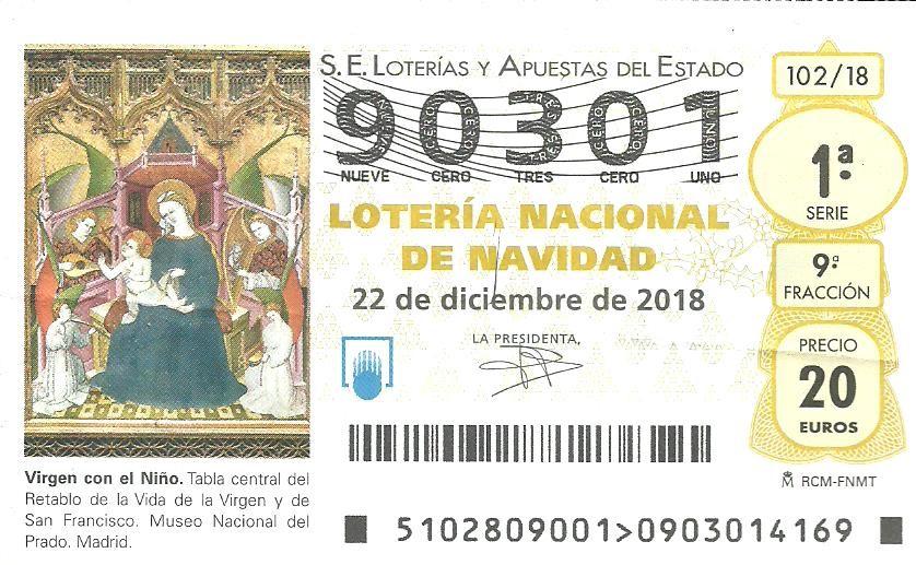 Ya está disponible la Lotería de Navidad con el número 90301